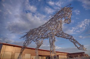 impulsion horse metal sculpture