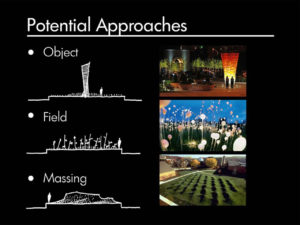 potential approaches to object field and massing infographic