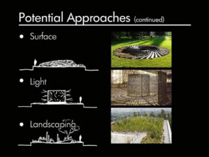 potential approaches to surface light and landscaping infographic