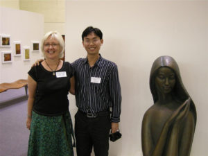 haiku museum with two people smiling