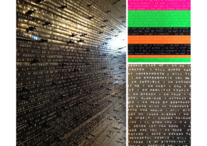 collage of machine typed words