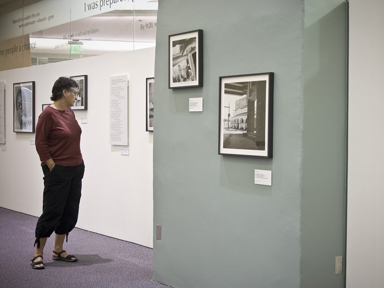 hurricane katrina exhibition with woman looking at images