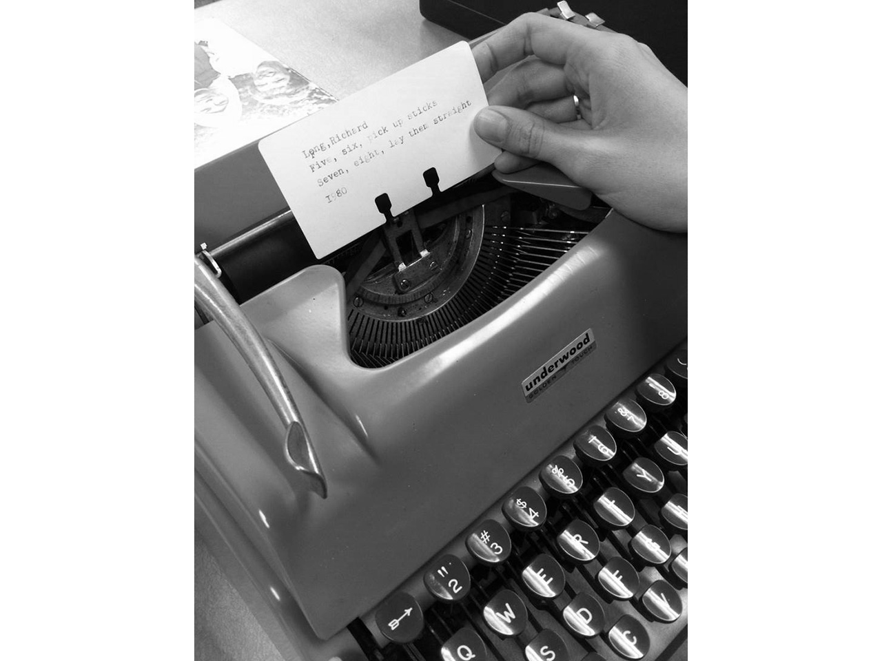 message typed on a typewriter