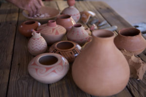 array of clay pots