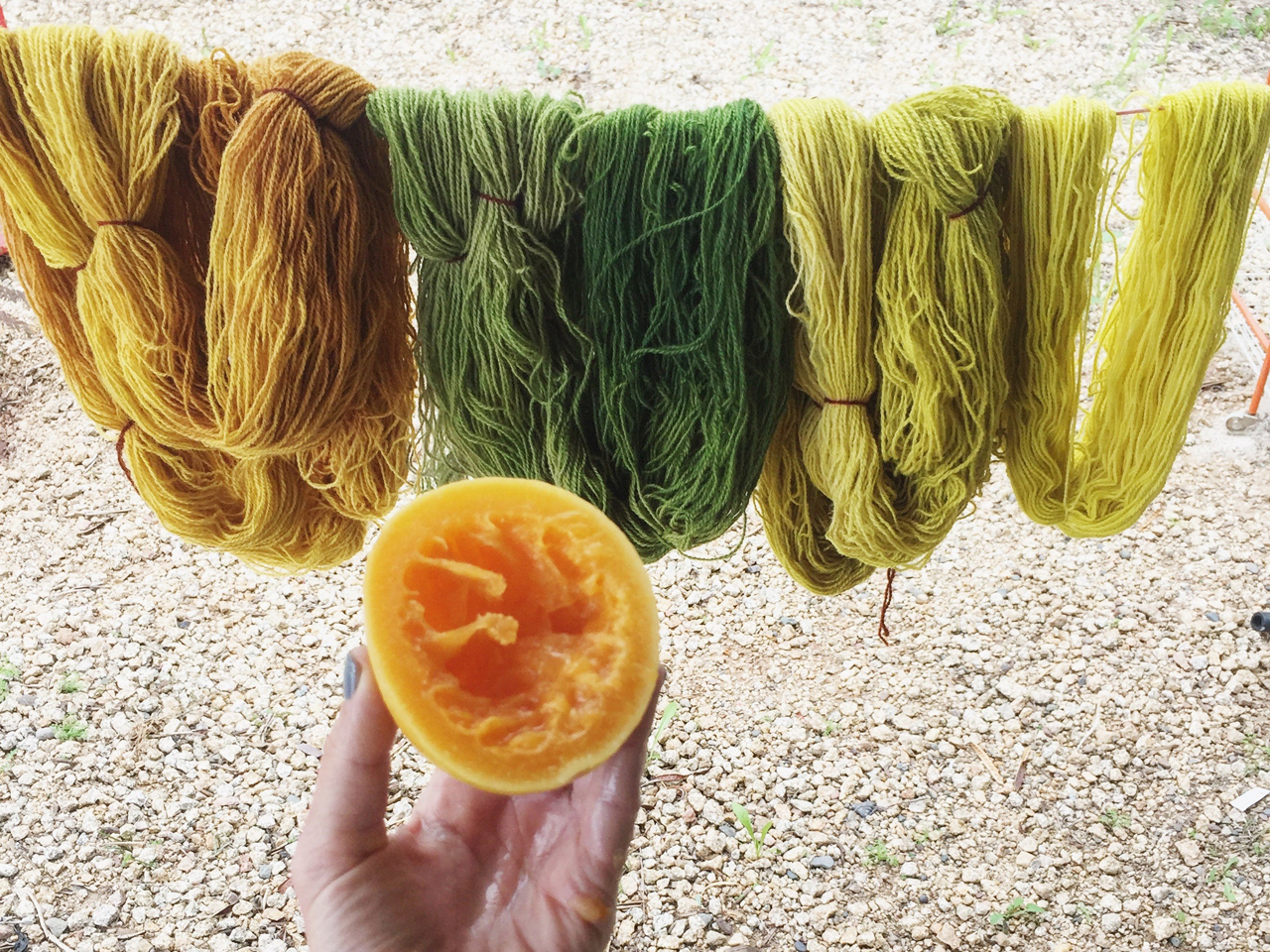 fruit and yarn hanging