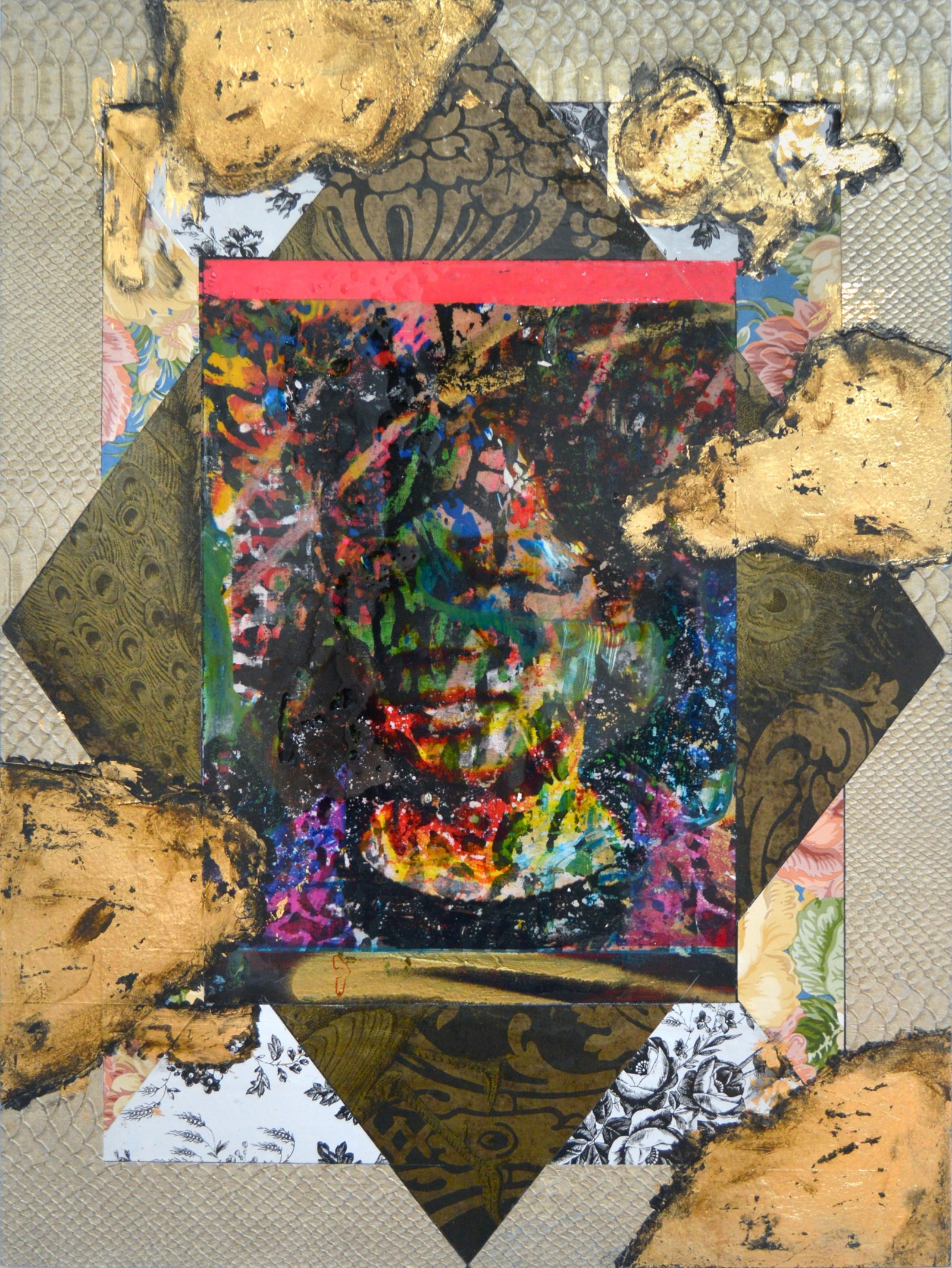 collage, resin, acrylic, gold leaf on wood