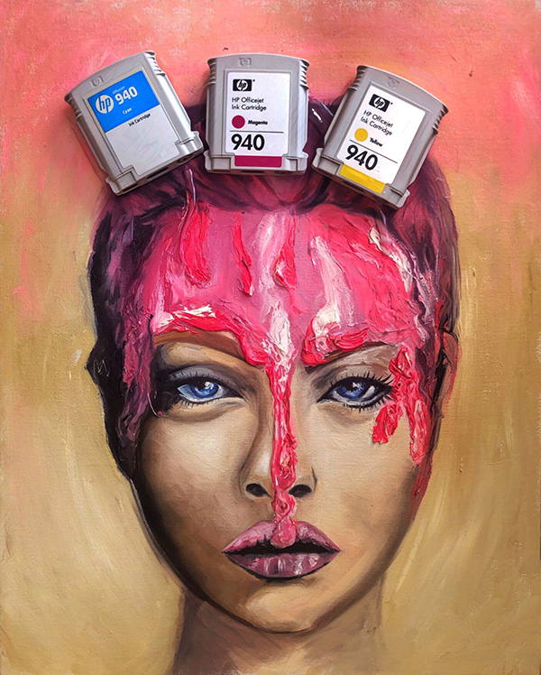 This self-portrait shows the artist becoming engulfed in her art materials.